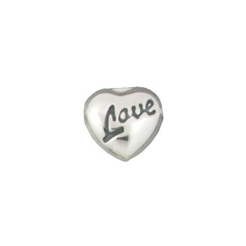 Beads. Sterling Silver 13.1mm Height by 13.8mm Width and 6.0mm Length, Puffed Heart Bead with Oxidized