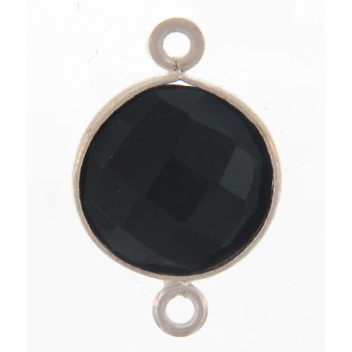 Stone Connectors & Drops. Sterling Silver 11.0mm Width / Length, Black Onyx Stone, Round Connector with 3.3mm Closed Ring on each side. Quantity Per Pack: 1 Piece.