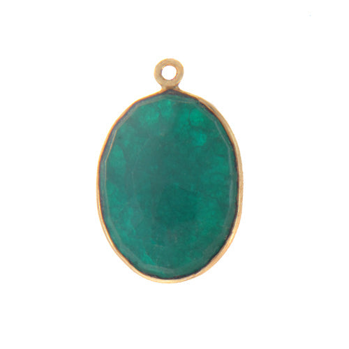 Stone Connectors & Drops. Sterling Silver Gold Plated / Vermeil 16.6mm Width by 25.1mm Length, Dyed Emerald Stone, Oval Drop with one 3.3mm Closed Ring. Quantity Per Pack: 1 Piece.
