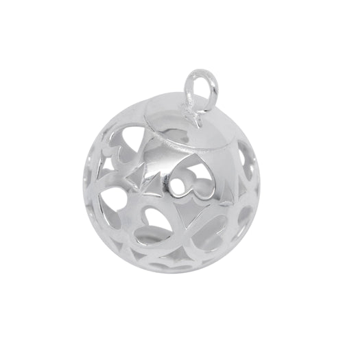 Dangles & Drops. Sterling Silver 10.0mm Width by 10.5mm Length / Height, Filigree Ball Drop with total of 20 Cut Out Hearts all around the Ball Drop. Quantity per pack: 2 Pieces.