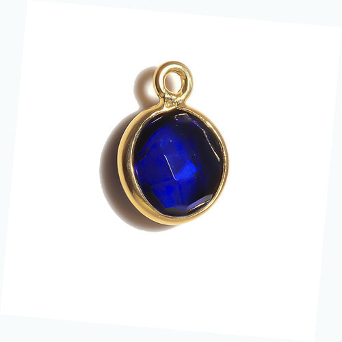 Stone Connectors & Drops. Sterling Silver Gold Plated / Vermeil 8.0mm Width / Length, Sapphire Stone, Round Drop with one 3.3mm Closed Ring. Quantity Per Pack: 1 Piece.