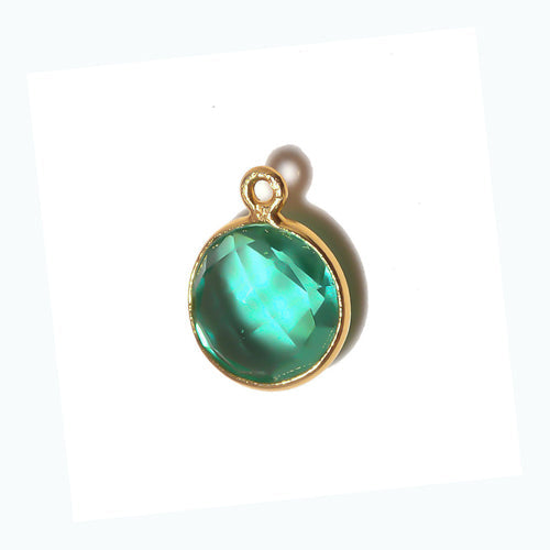 Stone Connectors & Drops. Sterling Silver Gold Plated / Vermeil 8.0mm Width / Length, Emerald Stone, Round Drop with one 3.3mm Closed Ring. Quantity Per Pack: 1 Piece.