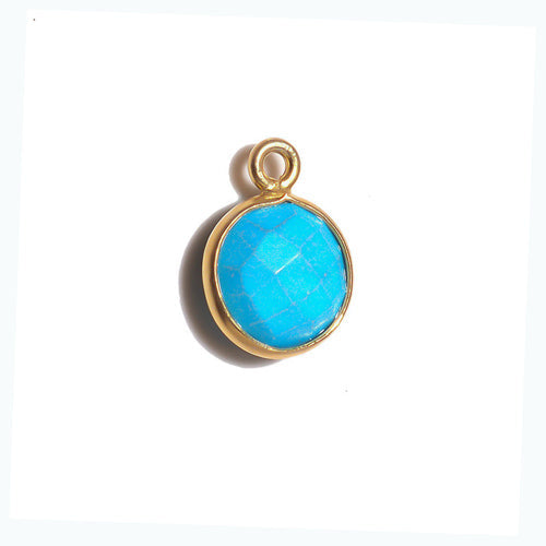Stone Connectors & Drops. Sterling Silver Gold Plated / Vermeil 8.0mm Width / Length, Turquoise Stone, Round Drop with one 3.3mm Closed Ring. Quantity Per Pack: 1 Piece.