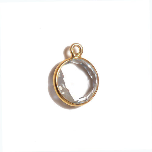 Stone Connectors & Drops. Sterling Silver Gold Plated / Vermeil 8.0mm Width / Length, Clear Quartz Stone, Round Drop with one 3.3mm Closed Ring. Quantity Per Pack: 1 Piece.