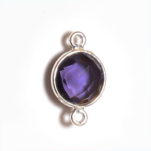 Stone Connectors & Drops. Sterling Silver 8.0mm Width / Length, Amethyst Stone, Round Connector with 3.3mm Closed Ring on each side. Quantity Per Pack: 1 Piece.