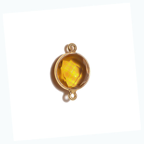 Stone Connectors & Drops. Sterling Silver Gold Plated / Vermeil 8.0mm Width / Length, Citrine Stone, Round Connector with 3.3mm Closed Ring on each side. Quantity Per Pack: 1 Piece.