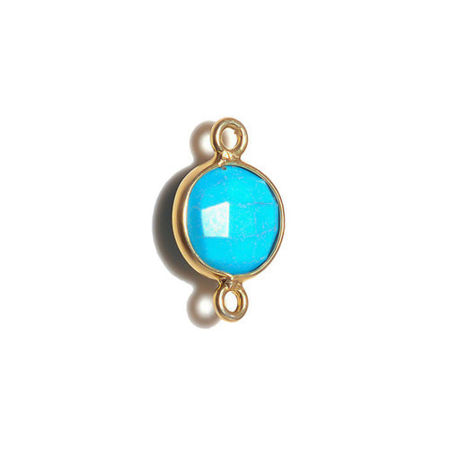 Stone Connectors & Drops. Sterling Silver Gold Plated / Vermeil 8.0mm Width / Length, Turquoise Stone, Round Connector with 2.8mm Closed Ring on each side. Quantity Per Pack: 1 Piece.