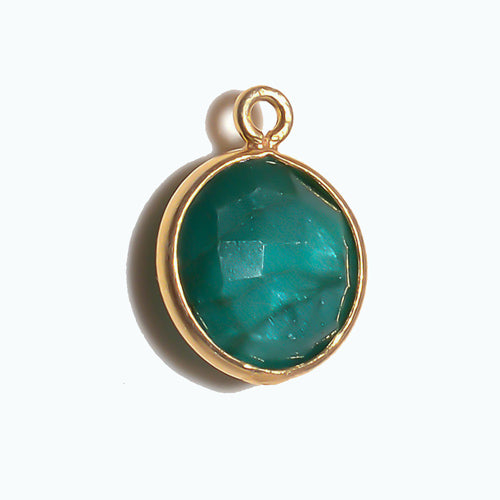 Stone Connectors & Drops. Sterling Silver Gold Plated / Vermeil 11.0mm Width / Length, Emerald Stone, Round Drop with one 3.3mm Closed Ring. Quantity Per Pack: 1 Piece.