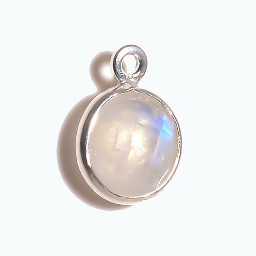 Stone Connectors & Drops. Sterling Silver 11.0mm Width / Length, Moonstone Stone, Round Drop with one 3.3mm Closed Ring. Quantity Per Pack: 1 Piece.