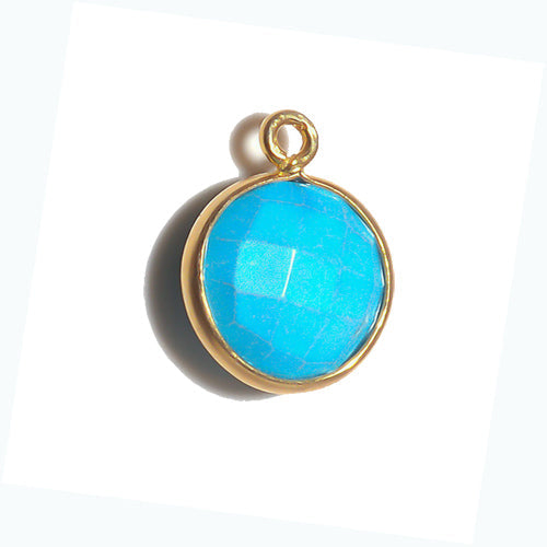 Stone Connectors & Drops. Sterling Silver Gold Plated / Vermeil 11.0mm Width / Length, Turquoise Stone, Round Drop with one 3.3mm Closed Ring. Quantity Per Pack: 1 Piece.