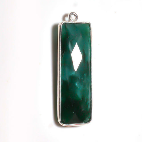 Stone Connectors & Drops. Sterling Silver 10.2mm Width by 33.8mm Length, Emerald Stone, Rectangle Drop with one 3.1mm Closed Ring. Quantity Per Pack: 1 Piece.