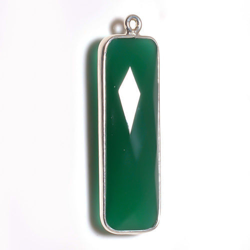 Stone Connectors & Drops. Sterling Silver 10.2mm Width by 33.8mm Length, Green Onyx Quartz Stone, Rectangle Drop with one 3.1mm Closed Ring. Quantity Per Pack: 1 Piece.