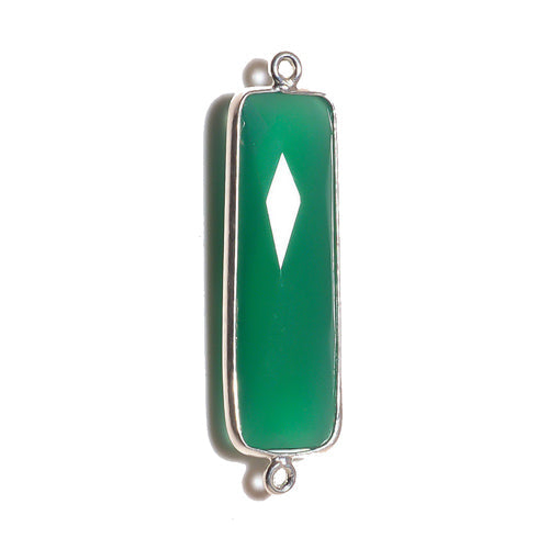 Stone Connectors & Drops. Sterling Silver 10.6mm Width by 36.7mm Length, Green Onyx Quartz Stone, Rectangle Connector with 3.1mm Closed Ring on each side. Quantity Per Pack: 1 Piece.