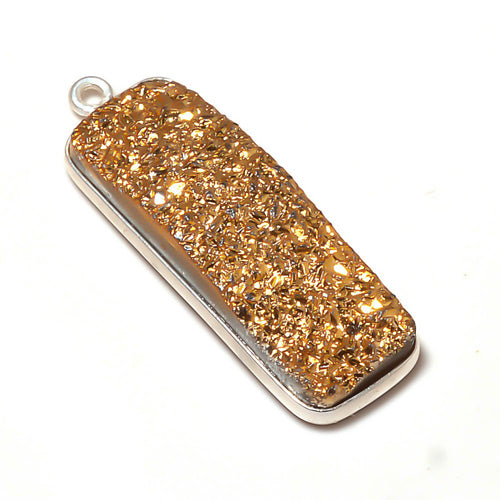 Stone Connectors & Drops. Sterling Silver 10.2mm Width by 33.8mm Length, Druzy - Gold Stone, Rectangle Drop with one 3.1mm Closed Ring. Quantity Per Pack: 1 Piece.