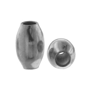 Beads. Sterling Silver 2.0mm Width by 3.3mm Length, Oval Bead. Quantity per pack: 100 Pieces.