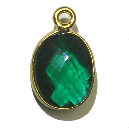 Stone Connectors & Drops. Sterling Silver Gold Plated / Vermeil 9.0mm Width by 13.7mm Length, Emerald Stone, Oval Drop with one 3.0mm Closed Ring. Quantity Per Pack: 1 Piece.