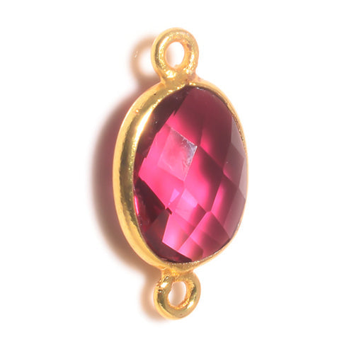 Stone Connectors & Drops. Sterling Silver Gold Plated / Vermeil 9.0mm Width by 17.7mm Length, Pink Tourmaline Stone, Oval Connector with 3.0mm Closed Ring on each side. Quantity Per Pack: 1 Piece.