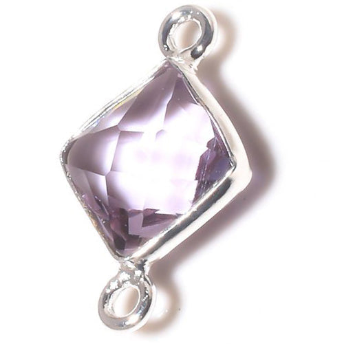 Stone Connectors & Drops. Sterling Silver 11.0mm Width by 17.5mm Length, Amethyst Stone, Diamond Shaped Connector with 3.3mm Closed Ring on each side. Quantity Per Pack: 1 Piece.