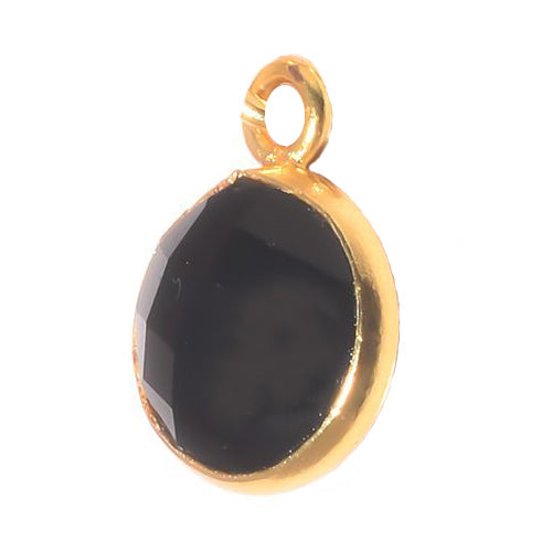 Stone Connectors & Drops. Sterling Silver Gold Plated / Vermeil 8.0mm Width / Length, Black Onyx Stone, Round Drop with one 3.3mm Closed Ring. Quantity Per Pack: 1 Piece.