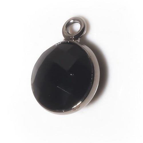 Stone Connectors & Drops. Sterling Silver Oxidized 8.0mm Width / Length, Black Onyx Stone, Round Drop with one 3.3mm Closed Ring. Quantity Per Pack: 1 Piece.