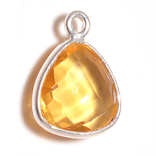 Stone Connectors & Drops. Sterling Silver 13.0mm Width by 16.0mm Length, Citrine Stone, Triangle Drop with one 3.0mm Closed Ring. Quantity Per Pack: 1 Piece.