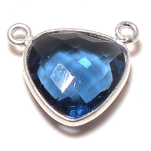 Stone Connectors & Drops. Sterling Silver 16.0mm Width by 14.0mm Length, Blue Tourmaline Stone, Triangle Connector - Center Piece with two 3.0mm Closed Rings on top. Quantity Per Pack: 1 Piece.