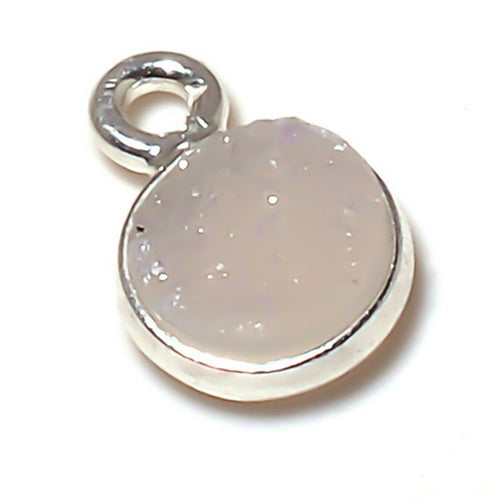 Stone Connectors & Drops. Sterling Silver 10.0mm Width / Length, Druzy - Natural Stone, Round Drop with one 3.3mm Closed Ring. Quantity Per Pack: 1 Piece.