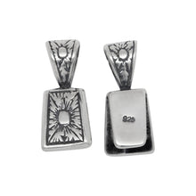 Load image into Gallery viewer, Sterling Silver Oxidized 9.0mm Width by 11.9mm Height, Flat Flower Pinch Bail with 5.4mm Width by 6.0mm Height, Sliding Bail at the top. Quantity per pack - 2 Pieces.