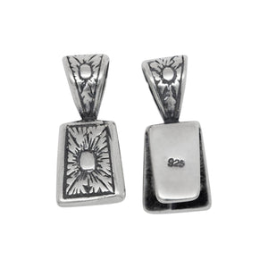 Sterling Silver Oxidized 9.0mm Width by 11.9mm Height, Flat Flower Pinch Bail with 5.4mm Width by 6.0mm Height, Sliding Bail at the top. Quantity per pack - 2 Pieces.