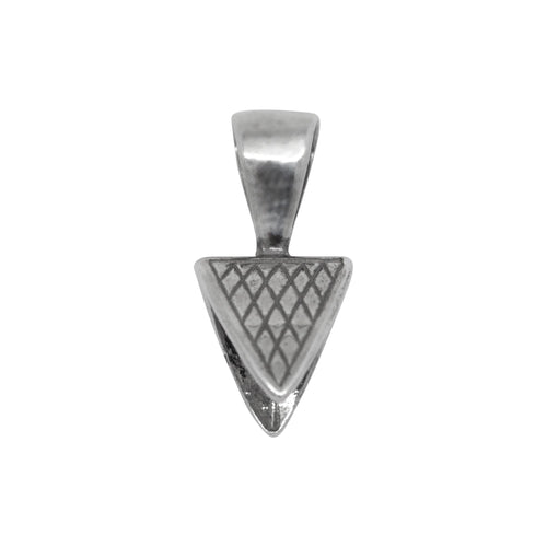 Bails. Sterling Silver Oxidized 10.6mm Width by 11.8mm Height Triangle Pinch Bail with 5.8mm Height by 10.1mm Width, Sliding Bail at the top. Quantity per pack - 2 Pieces.