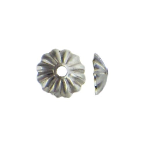 Bead Caps & Cones. Sterling Silver 6.1mm Height / Width Corrugated Bead Cap. Quantity Per Pack: 50 Pieces.