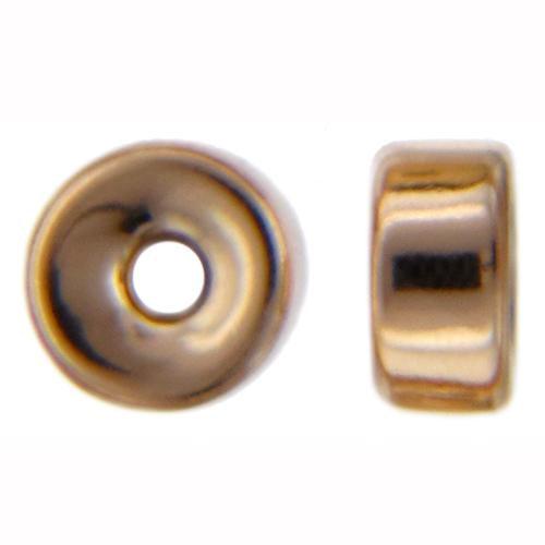 Beads. Gold Filled 2.9mm Width by 5.8mm Length Smooth Roundel Bead. Quantity per pack: 10 Pieces.