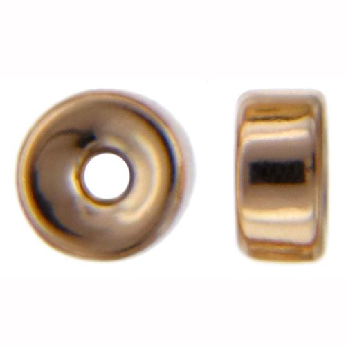 Beads. Gold Filled 3.6mm Width by 7.0mm Length Smooth Roundel Bead. Quantity per pack: 10 Pieces.