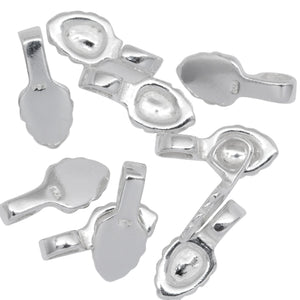 Sterling Silver 5.2mm Width by 7.6mm Height, Glue On Bail with 3.7mm Width by 4.3mm Height, Sliding Bail at the top. Quantity per pack - 10 Pieces.