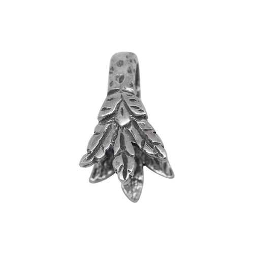Bails. Sterling Silver 8.4mm Width by 13.9mm Height, Leaf Pinch Bail. Quantity per pack - 3 Pieces.