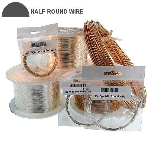 Wire. Gold Filled 22.0 Gauge Half Hard Half Round Wire. Ounces sold per pack - 0.5 ounce.