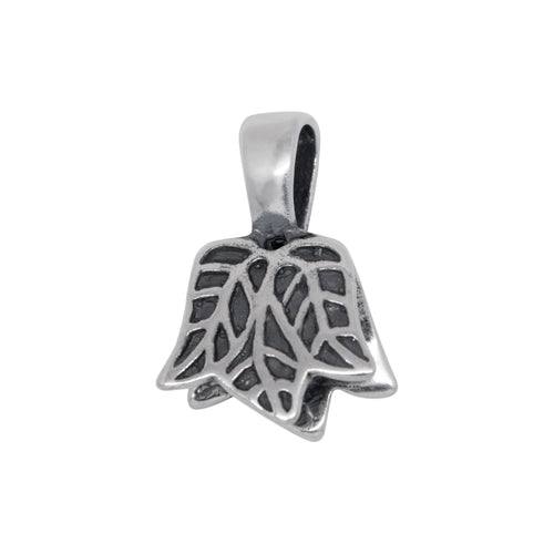 Bails. Sterling Silver 13.9mm Width by 13.0mm Height, Leaf Pinch Bail with 5.6mm Width by 8.4mm Height, Sliding Bail at the top. Quantity per pack - 2 Pieces.