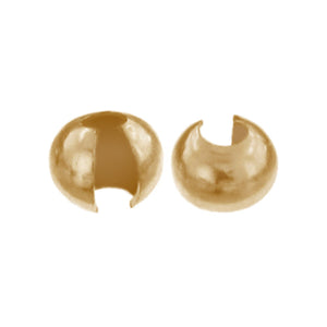 Crimps & Crimp Covers. Gold Filled 2.4mm Crimp Covers. Quantity Per Pack: 20 Pieces.