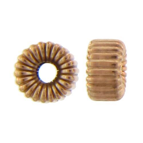 Beads. Gold Filled 7.1mm Width by 3.8mm Height, Seamless Corrugated Roundel Bead. Quantity per pack: 10 Pieces.
