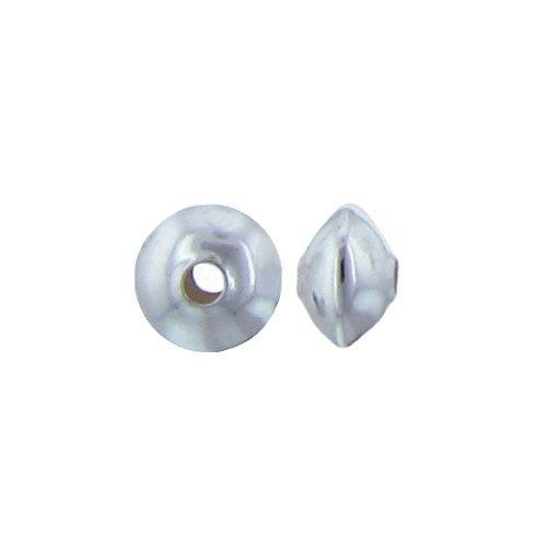 Beads. Sterling Silver 3.1mm Width by 4.5mm Length, Smooth Plain Seamless Saucer Bead. Quantity per pack: 100 Pieces.