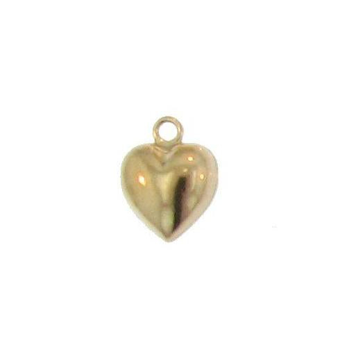 Charms. Gold Filled 11.6mm Width by 11.7mm Length by 8.6mm Height, Heart Charm With 21.0 Gauge 3.6mm Fix Ring at the Top. Quantity Per Pack: 2 Pieces.