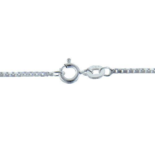 Chain by Clasp. Sterling Silver 0.8mm Width / Length, 18 Inch Regular Flat Box Chain with 4.8mm Width / Length by 1.0mm Thick, Smooth Spring Ring Clasp. Quantity Per Pack: 1 Piece.