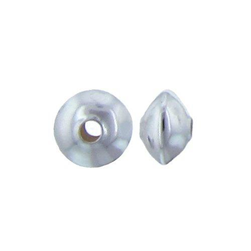 Beads. Sterling Silver 5.9mm Width by 9.1mm Length, Smooth Plain Seamless Saucer Bead. Quantity per pack: 10 Pieces.