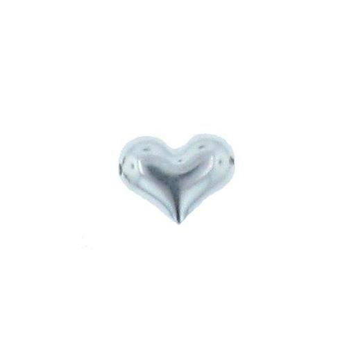 Beads. Sterling Silver 13.6mm Width by 10.4mm Length by 5.3mm Height, Heart Bead. Quantity per pack: 5 Pieces.