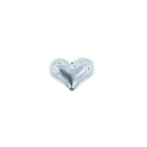 Beads. Sterling Silver 13.8mm Width by 9.8mm Length by 5.5mm Height, Heart Bead. Quantity per pack: 5 Pieces.