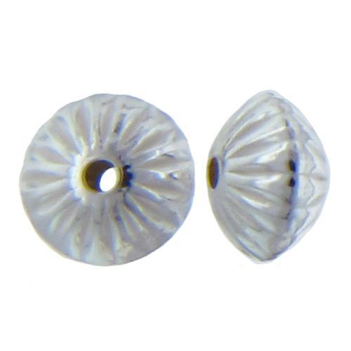 Beads. Sterling Silver 2.8mm Width by 4.5mm Length, Corrugated Seamless Saucer Bead. Quantity per pack: 50 Pieces.