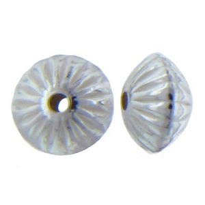 Beads. Sterling Silver 5.5mm Width by 8.1mm Length, Corrugated Seamless Saucer Bead. Quantity per pack: 10 Pieces.