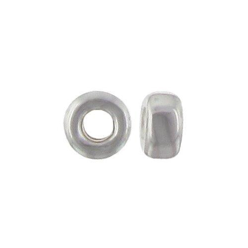Beads. Sterling Silver 2.2mm by 4.2mm Smooth Seamless Roundel Bead. Quantity per pack: 50 Pieces.