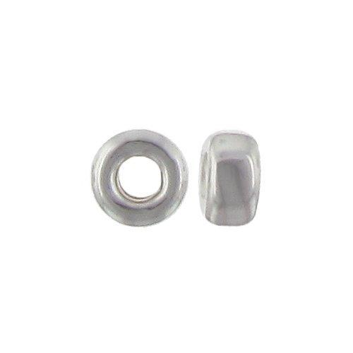Beads. Sterling Silver 2.7mm by 5.1mm Smooth Seamless Roundel Bead. Quantity per pack: 50 Pieces.