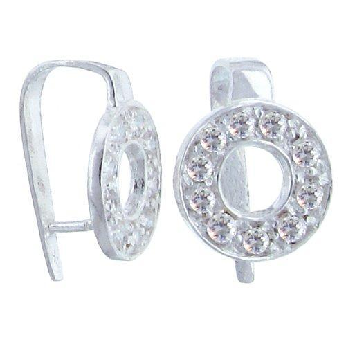 Bails. Sterling Silver 12.6mm Width by 17.7mm Length by 10.0mm Height, Donut Pinch Bail with Nine 2.3mm Width / Length CZ around Donut. Quantity per pack - 1 Pieces.